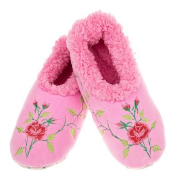 Flower Power Pink Snoozies Fleece Line Non Slip Slippers